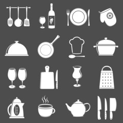 Kitchen utensil icons. Vector