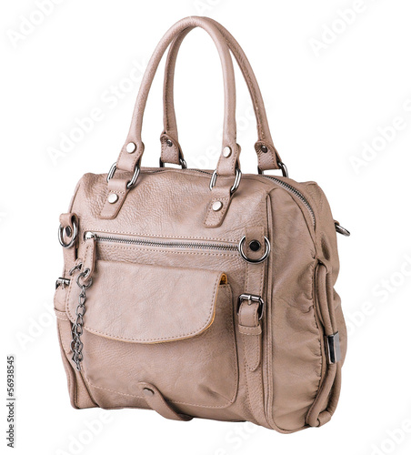 Cute and luxury woman leather handbag in old-rose color