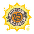Stamp with the text 25 percent Discount, written inside