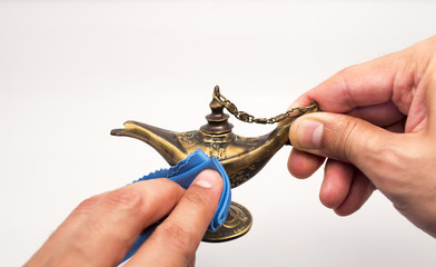 rubbing  magic lamp