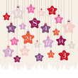 Advent Calendar Hanging Stars Forest Pink/Orange/Purple