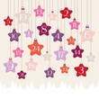 Advent Calendar Hanging Stars Forest Pink/Orange/Purple