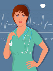 Young nurse or doctor in scrubs with a heart monitor