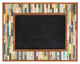 Color wooden frame with chalkboard