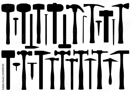 Set of different hammers