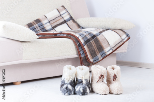 Natural woollen slippers an blanket