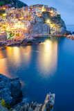 Night view of colorful village Manarola, Cinque Terre