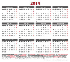 Kalender 2014 Querf.,16 Bundesländer im AI