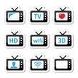 TV set, 3d, HD vector icons set