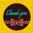 Thank you - greeting card with polka dots bow tie