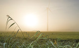 Wind turbine in a hazy sunlit field at fall