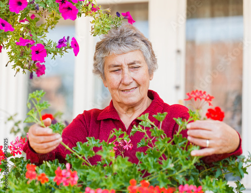 Old lady with flowers