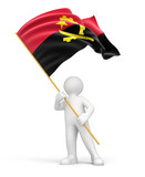 Man and Angola flag (clipping path included)