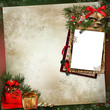 Frame with Christmas decorations on a vintage background