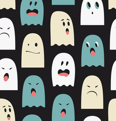 eamless pattern with cute ghosts. Spooks background