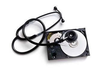stethoscope and hard disk