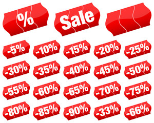 "Price Tags Set ""Sale"" Minus Red Divided"