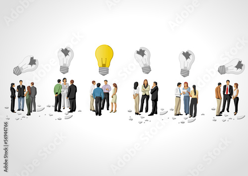groups of business people thinking. Light bulb idea.