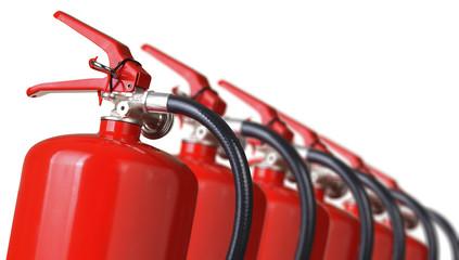 fire extinguishers close up isolated on white background