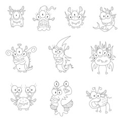 Cartoon monsters, goblins, ghosts