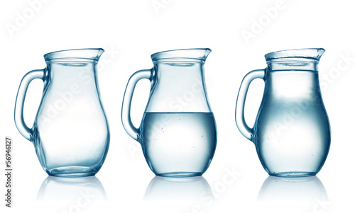 empty,half and full with water jug. Isolated on white