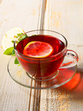 pomegranate tea with a lemon.