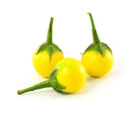 Yellow Eggplant on a white background.