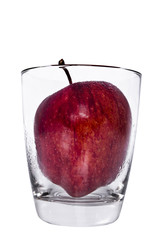 Isolate apple in glass