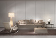 Contemporary white living room with sofa, armchair