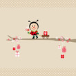 Ladybug Bouquet Pulling Handcart Tree Beige Dots