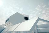 Independent modular futuristic building poster