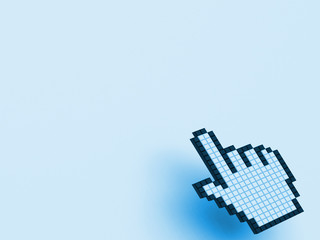 Cursor Hand On Blue Background Shows Blank Copy Space Website