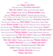 Pink and purple Happy New Year in several languages word cloud.