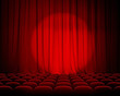 closed theater red curtains with spotlight and seats - 56947583