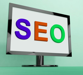 Seo On Monitor Shows Search Engine Optimization Online