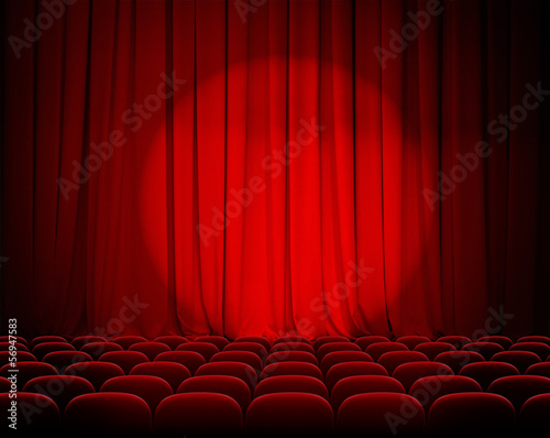 Deurstickers Theater closed theater red curtains with spotlight and seats