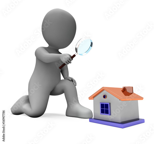 House Character Shows Inspect Surveying Searching Or Looking For