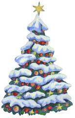 In Acryl gemalter, schneebedeckter und geschmückter Christbaum