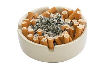 isolated of full cigarette ashtray