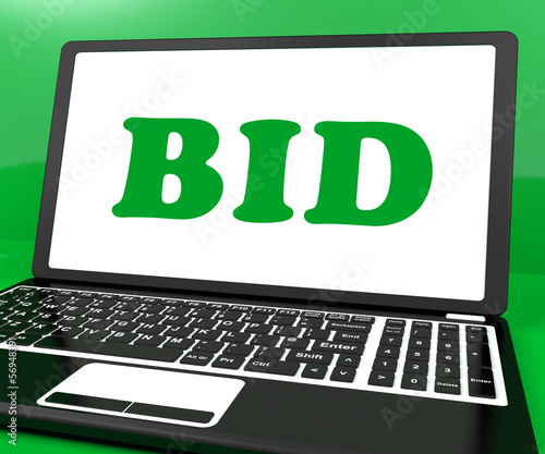 Bid On Laptop Shows Bidder Bidding Or Auction Online