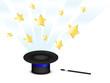 Hut und Zauberstab mit fliegenden Sternen