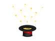 Hut mit Gold Münzen fliegend rotes Band