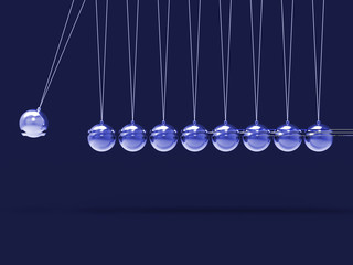 Nine Silver Newtons Cradle Shows Blank Spheres Copyspace For 9 L