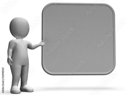 Character With Blank Board Allows Message Or Presentation