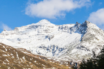 High mountain peak with snow