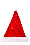 Santa hat with sequins isolated on white