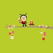 Ladybug Bouquet Pulling Handcart Tree Green