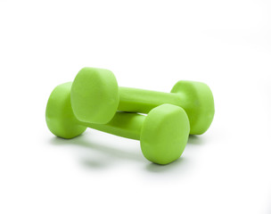 small green dumbbells,  isolated in white