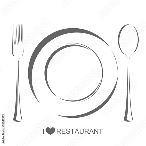 Restaurant1, plate fork spoon on isolated white background