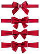 Satin red ribbons. Gift bows.